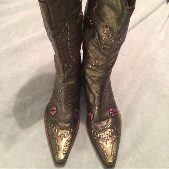 Bcbgirls Shoes Bcbg Girls Green Leather Cowboycowboy Boots Poshmark