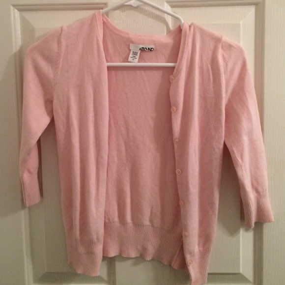 80% off Abound Sweaters - 3/4 sleeve light pink button up cardigan ...