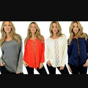 Boutique Tops - Sexy shredded long sleeve top