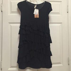 Black Ruffled Skirt Dress