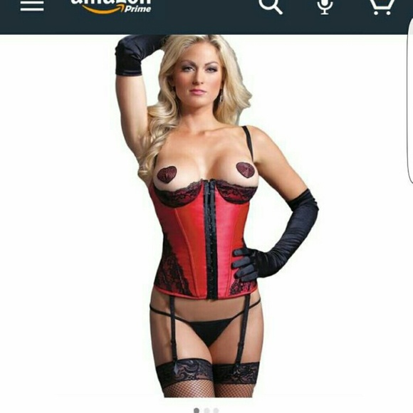 56b6c1944c Corset Cupless black and red satin lace brand new