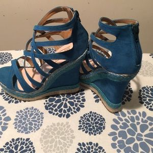 Brand New... Blue Strap Wedges Size 6.5