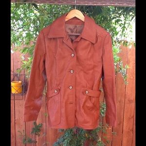 Women's Vintage Caramel Tone Leather Jacket  Small
