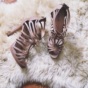 N.Y.L.A. Shoes - Strappy Nude Heels