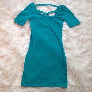 Green Cage Back Mini Bodycon Dress