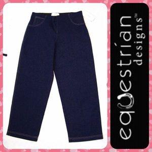 Equestrian Designs Denim - EQUESTRIAN Blue Horse Riding Crop Jeans Breeches L
