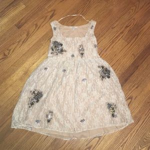 Zara Cream lace dress with sequin/embroidery