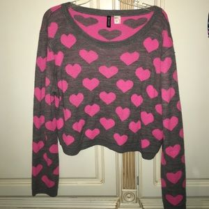 Grey and pink heart sweater