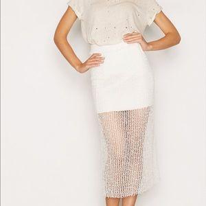 NEW iro long mesh white skirt