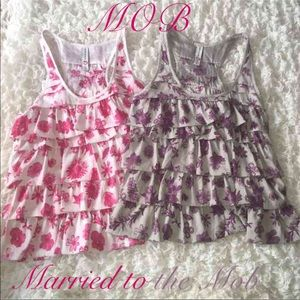 Married to the Mob: 2 Ruffle Tanks in S