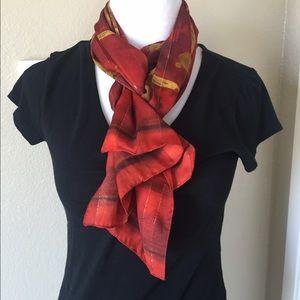 HOST PICK! Red/Orange Floral Print Scarf