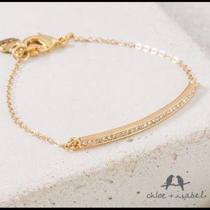 Chloe + Isabel Jewelry - Gold-Plated Pavé Curved Bar Bracelet