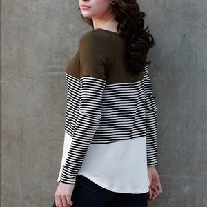 Tops - SALE- Olive Color Blocked Striped Top