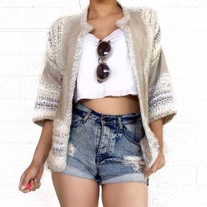 Vintage suede and crochet jacket