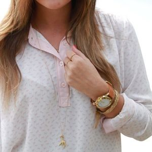 Blush and white Free People Blouse