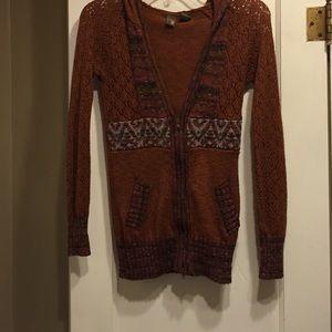 BKE Sweaters - Burnt orange sweater with zipper size small, BKE
