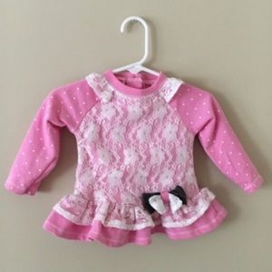 Nannette Other - Nannette 12M Pink Peplum & White Lace Top