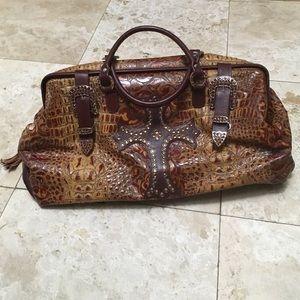 Raviani Luxury Leather Embossed Travel Luggage Bag