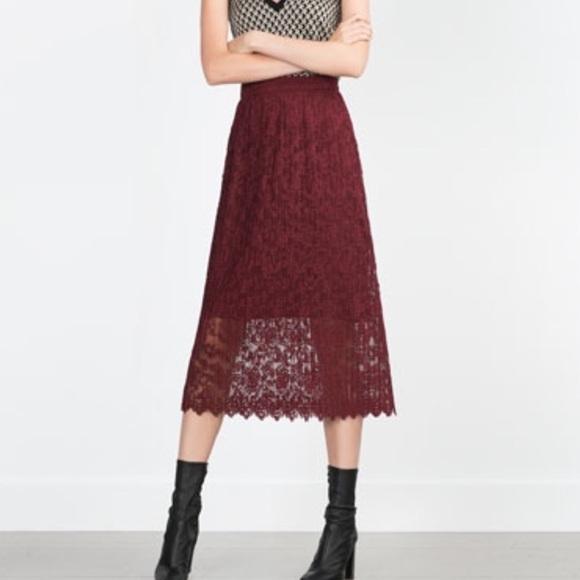 Zara Lace Skirt S Skirts Women's Clothing