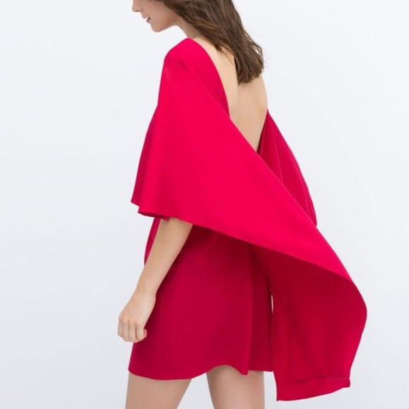 28a0164f540 ZARA Cape Dress with Open Back. NWT