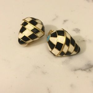 Kenneth Jay Lane black and white clip earrings