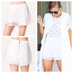 Pleated White Organza Shorts