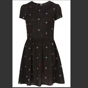 Topshop Dresses & Skirts - Topshop Petite Embroidered Flower Black Dress