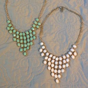 Teal & White Statement Necklaces