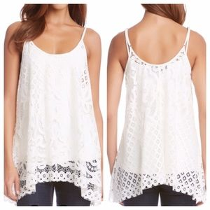Sheer Lace Handkerchief Hemline Tank Blouse
