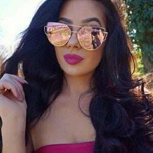 Cateye sunglasses mirror pink