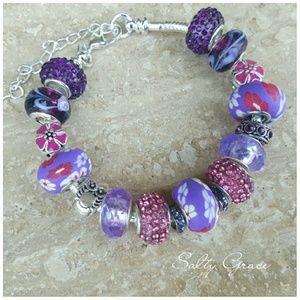 Salty Grace  Jewelry - Purple owl charm bracelet