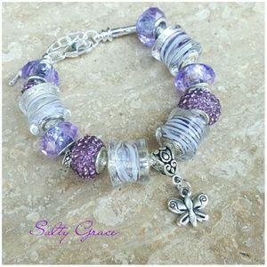 Salty Grace  Jewelry - Purple butterfly charm bracelet