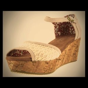 TOMS  Natural Textured Woven Wedge Sandal