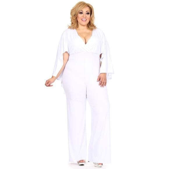 Pants | White Plus Size Cape Jumpsuit | Poshmark
