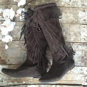 6cebb785e Sam Edelman Shoes - Sam Edelman Utah Suede Fringe Moccasin Boots Brown