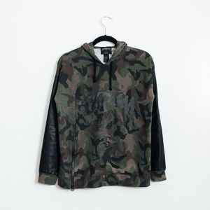 Stussy Tops - STUSSY SIDE ZIP CAMO LEATHER HOODIE