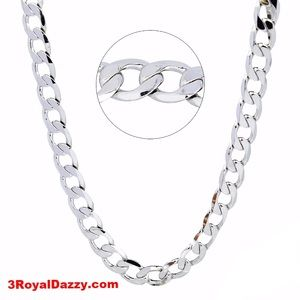3 Royal Dazzy Jewelry - Gold Layer on Solid 925 Sterling Silver Curb Chain