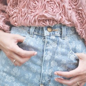 High waisted American Apparel Jean shorts