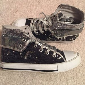Gotta Flurt Shoes - Black and silver sequence high tops