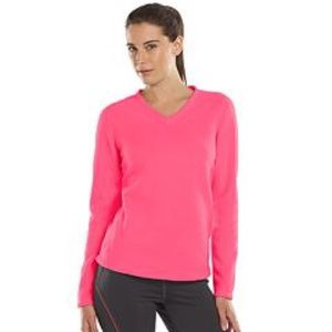 HPXL TEK GEAR V-NECK MICRO-FLEECE PULLOVER TOP