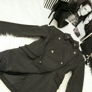 Boutique Jackets & Blazers - Gray Wool Military Peacoat