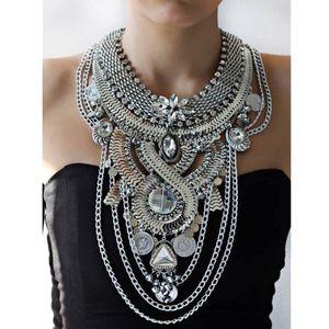 Boho Silver Bib Gypsy Statement Necklace