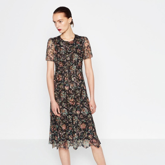 d1f40a1188 Dark floral lace midi dress