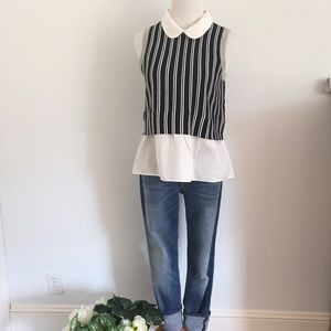 Anthropologie Tops - Blue Striped Sleeveless Sweater Top Anthropologie