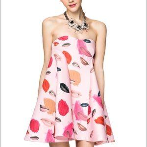 Dresses & Skirts - Lips pattern short pink nylon / scuba dress