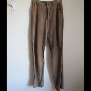 Ellen Tracy Pants - Real leather! Tan Pants W/ Pockets and Lining