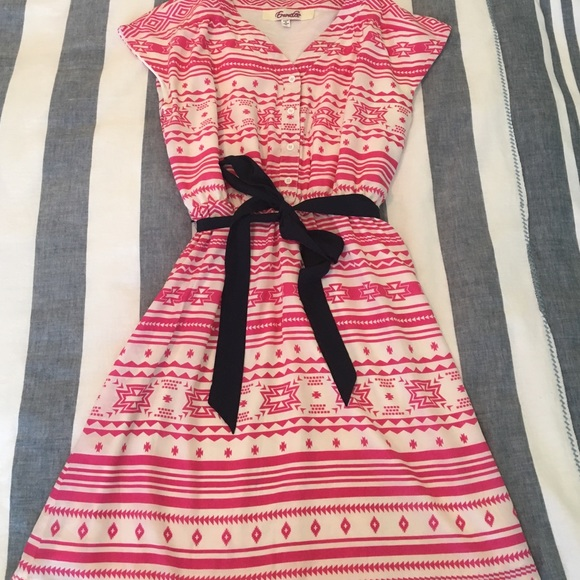 Francesca's Collections Dresses - Pink Aztec Dress with Navy Bow