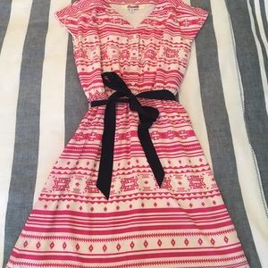 Francesca's Collections Dresses & Skirts - Pink Aztec Dress with Navy Bow