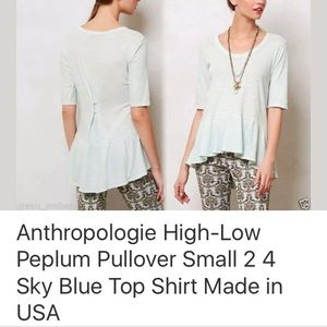 Anthropologie High-low Peplum Pullover Small