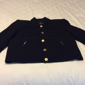 Ellen Tracy black jacket with gold hardware.